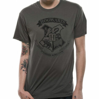 Harry Potter Distressed Hogwarts Crest Grey T-Shirt