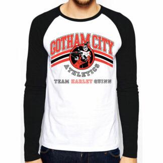 DC Harley Quinn Team Gotham City Baseball T-Shirt On Person