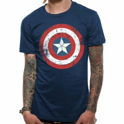 Captain America Distressed Shield tee on person