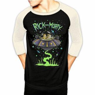 Rick & Morty Spaceship Baseball Tee On Person