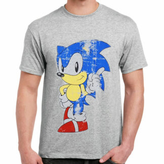 Distressed Grey Sonic T-Shirt On Person