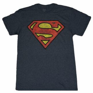 superman classic distressed logo t shirt charcoal