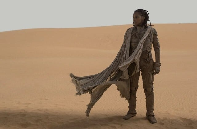 Character from Dune standing in dessert