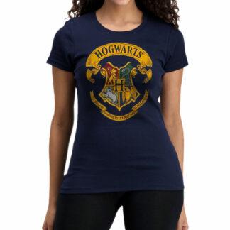 Harry Potter Coloured Hogwarts Crest Navy Ladies T-Shirt