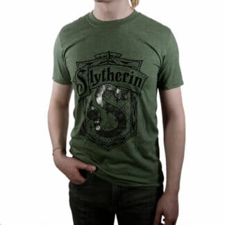 Harry Potter Slytherin Silver Crest T-Shirt On Person