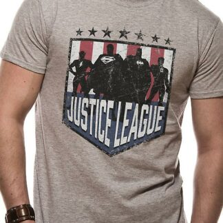 justice league silhouette tee on person