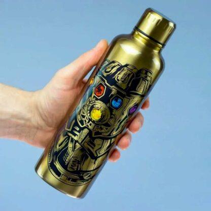 Marvel Avengers Endgame Infinity Gauntlet Metal Water Bottle Being Held