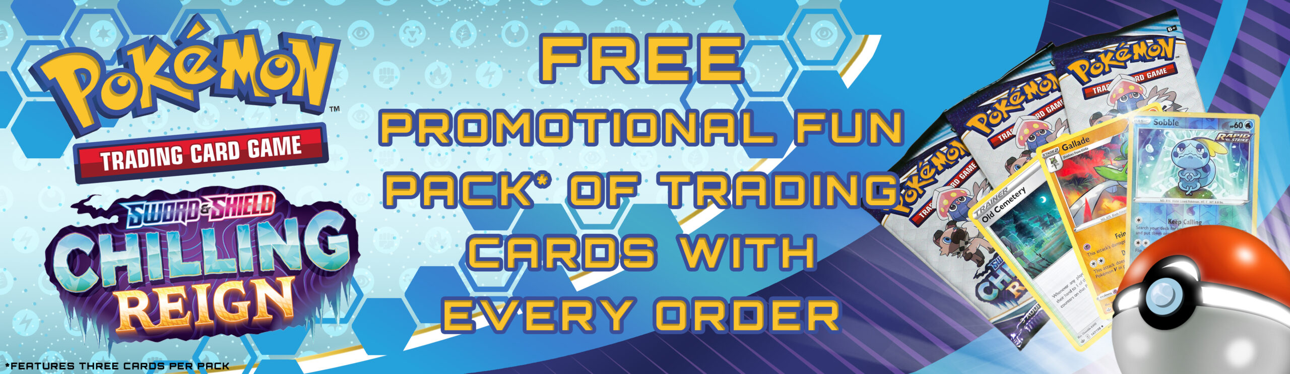 Pokemon Sword & Shield Chilling Reign Free Promotional Fun Pack Trading Cards Banner